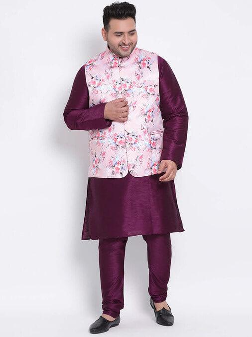 Shop 3 Pics 3pc Kurta Pyjama Nehru-Front