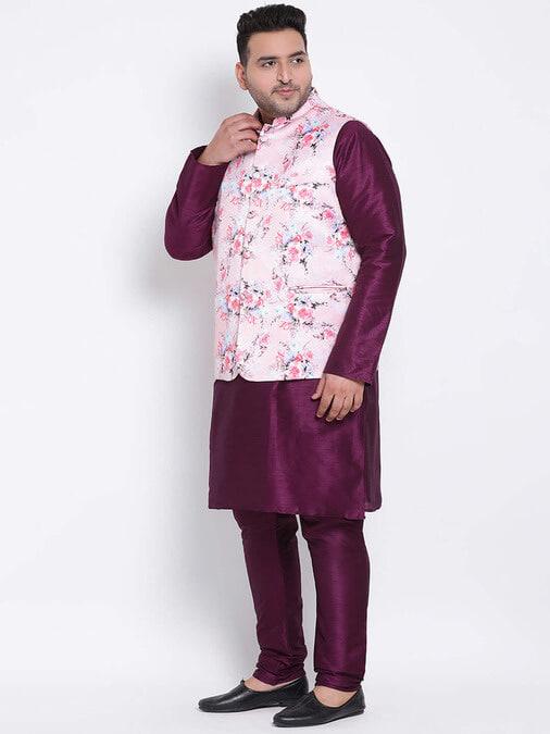 Shop 3 Pics 3pc Kurta Pyjama Nehru-Back