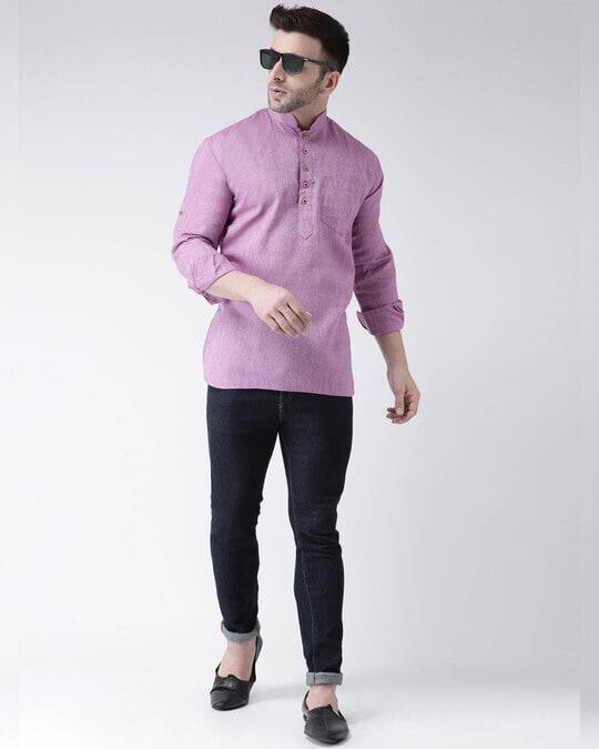 Shop Mens Solid Short Kurta-Full