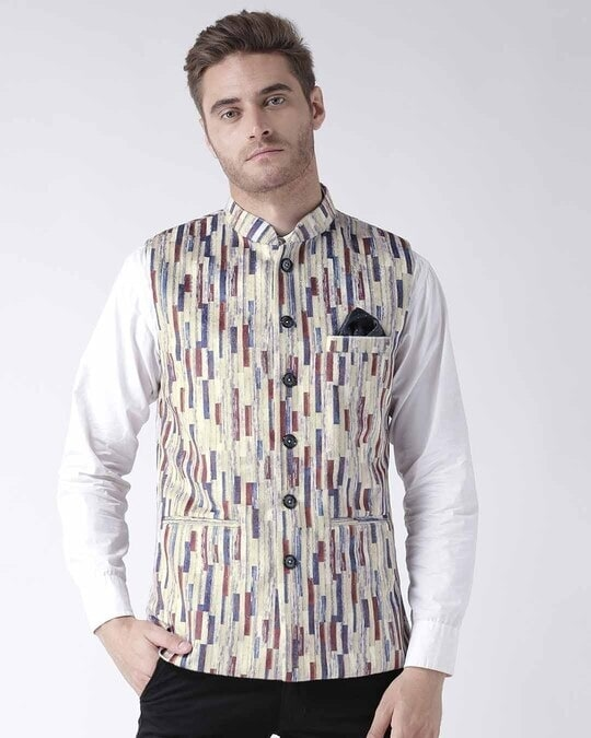 Shop Printed Casual Nehru Jacket-Front