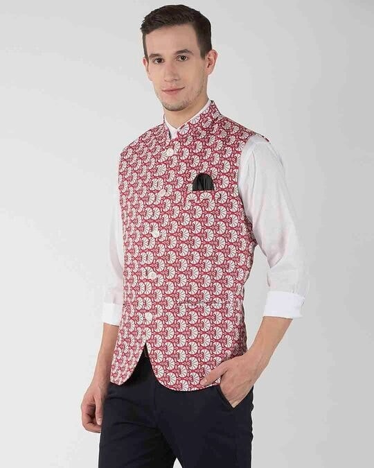 Shop Printed Casual Nehru Jacket-Back