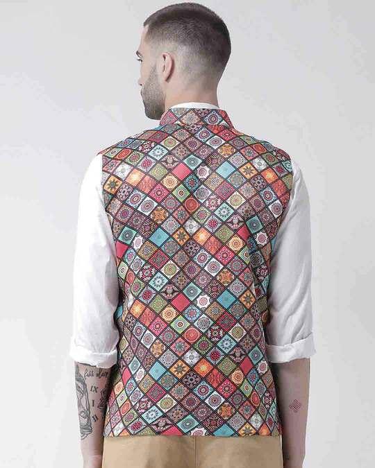Shop Printed Casual Nehru Jacket-Design