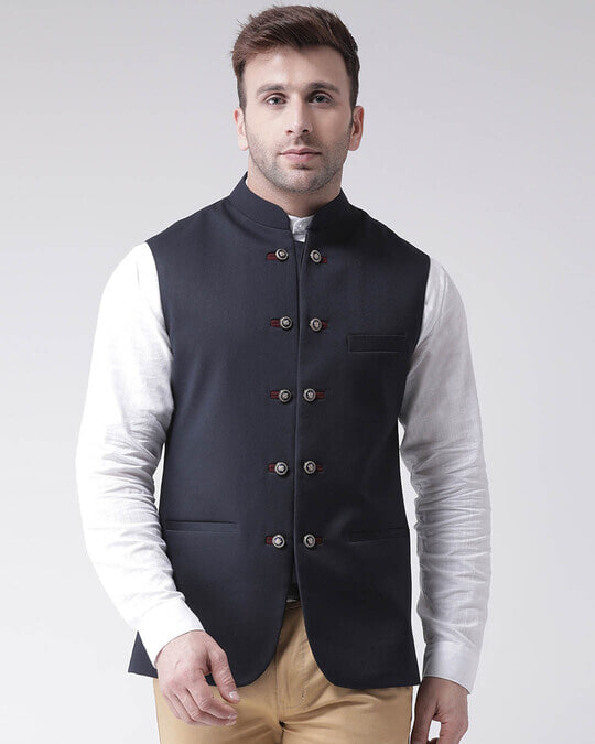 Shop Solid Casual Nehru Jacket-Front