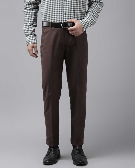 Shop Mens Brown Solid Casual Trouser-Front