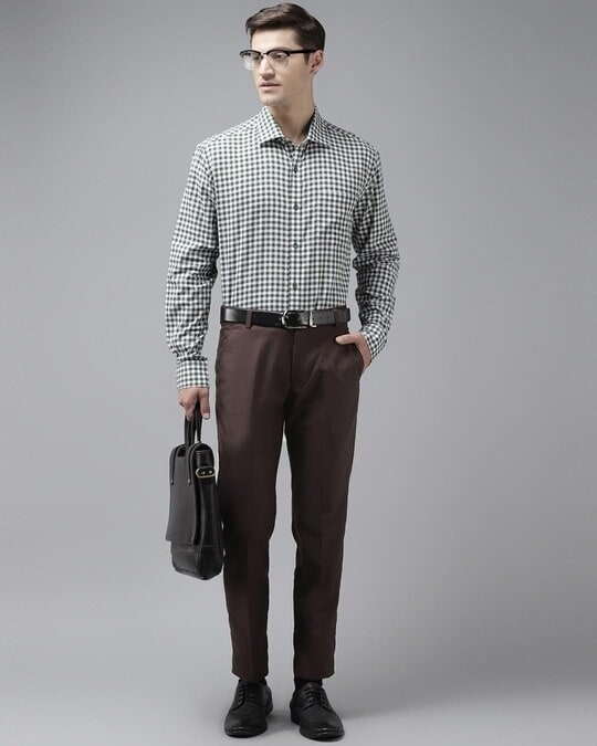 Shop Mens Brown Solid Casual Trouser-Full