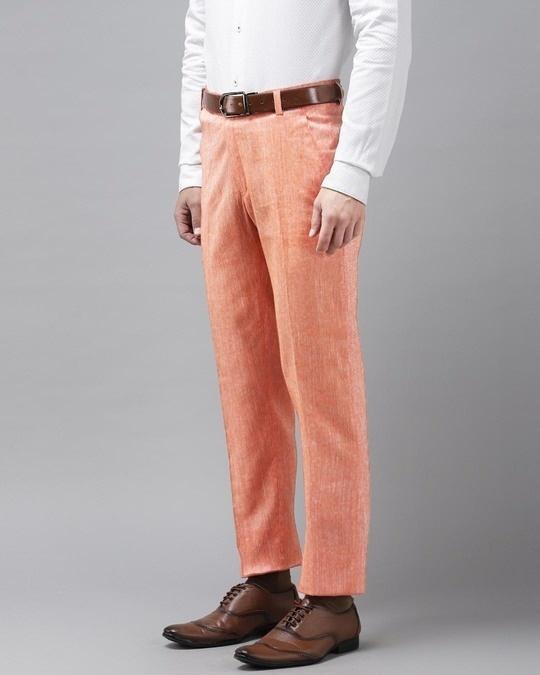 Shop Mens Linen Cotton Solid Casual Trouser-Back