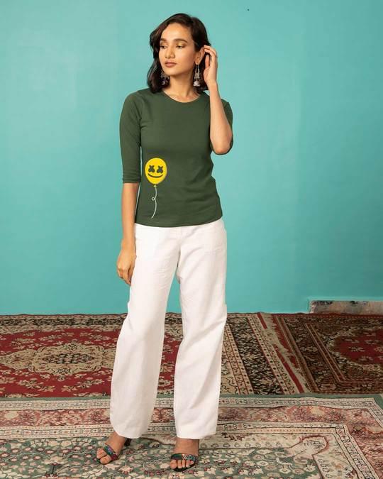 Shop Happier Balloon Round Neck 3/4th Sleeve T-Shirt-Design