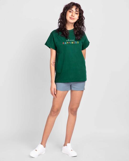 Shop Happiness Colorful Boyfriend T-Shirts Dark Forest Green