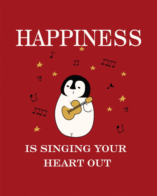Shop Happiness-penguin Round Neck 3/4th Sleeve T-Shirt