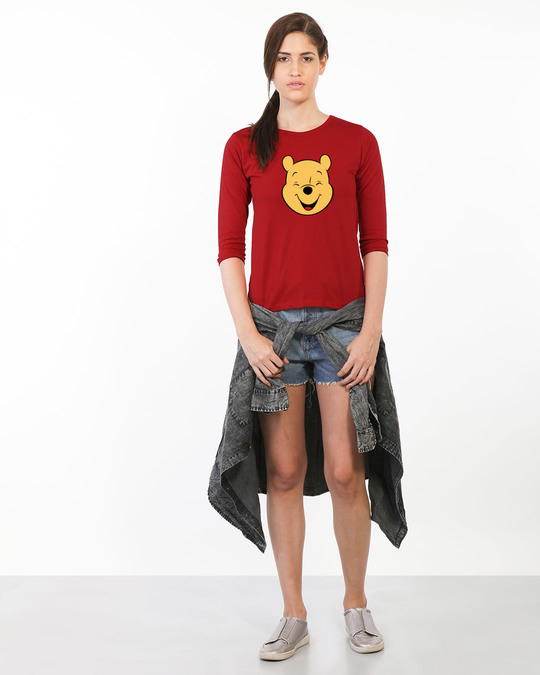 Shop Happy Pooh Round Neck 3/4th Sleeve T-Shirt (DL)