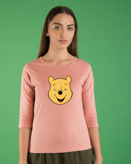 Shop Happy Pooh Round Neck 3/4th Sleeve T-Shirt (DL)-Front