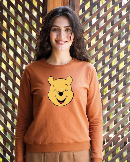 Shop Happy Pooh (DL) Fleece Light Sweatshirt-Front