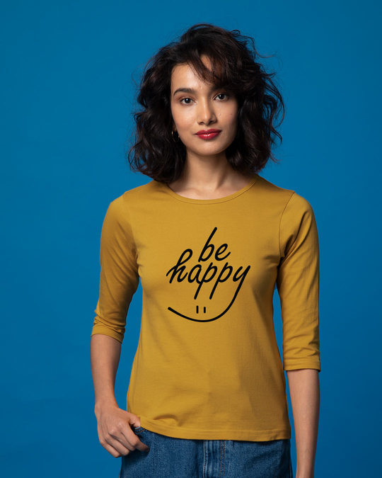 Shop Happy Smiley Round Neck 3/4th Sleeve T-Shirt-Front
