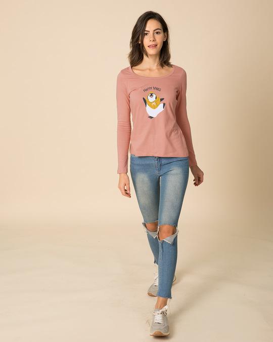 Shop Happy Vibes Scoop Neck Full Sleeve T-Shirt-Full