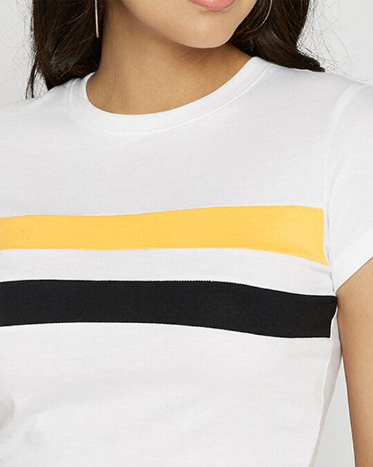 Shop Happy Yellow Front Double Stripe Crop Top
