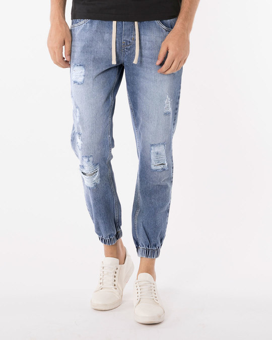 Shop Harbor Blue Denim Joggers-Front
