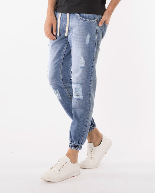 Shop Harbor Blue Denim Joggers-Back