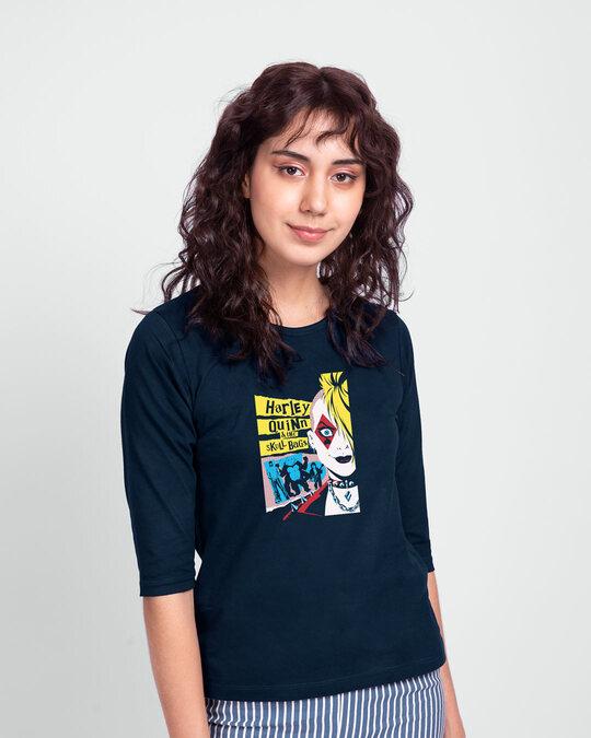 Shop Harley Quinn Round Neck 3/4 Sleeve T-Shirts Navy Blue (BML)-Back