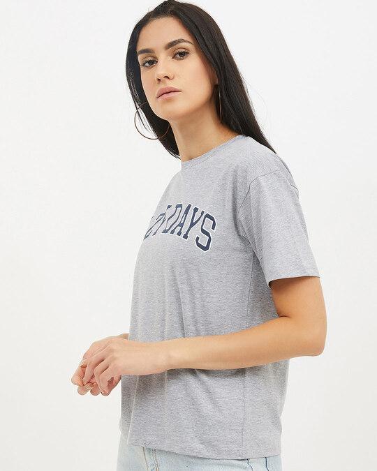 Shop Women Round Neck Short Sleeves Printed T Shirt-Back