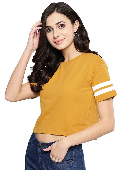 Shop Women Round Neck Short Sleeves Solid Top-Back