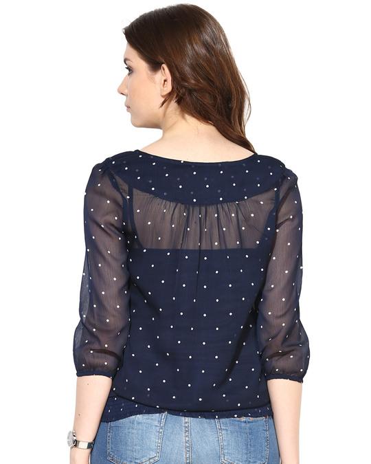 Shop Women Round Neck Three Quarter Sleeves Printed Top-Design