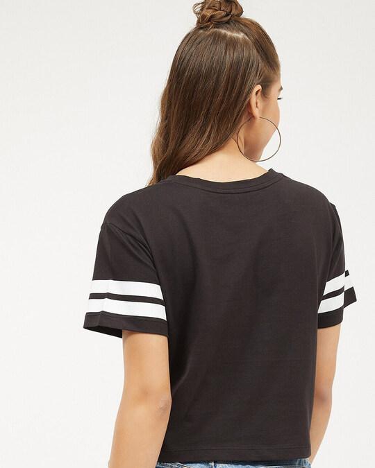 Shop Women Round Neck Three Quarter Sleeves Solid T Shirt-Back