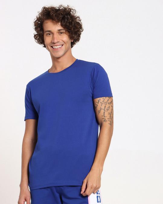 Shop Hashtag Blue Half Sleeve T-Shirt-Back