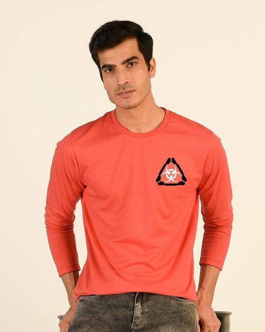 Shop Hazadous Full Sleeve T-Shirt Smoke Red-Front