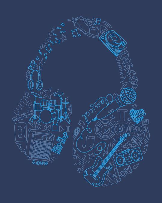 Shop Headphone Doodle Boyfriend T-Shirt