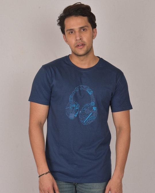 Shop Headphone Doodle Half Sleeve T-Shirt-Front