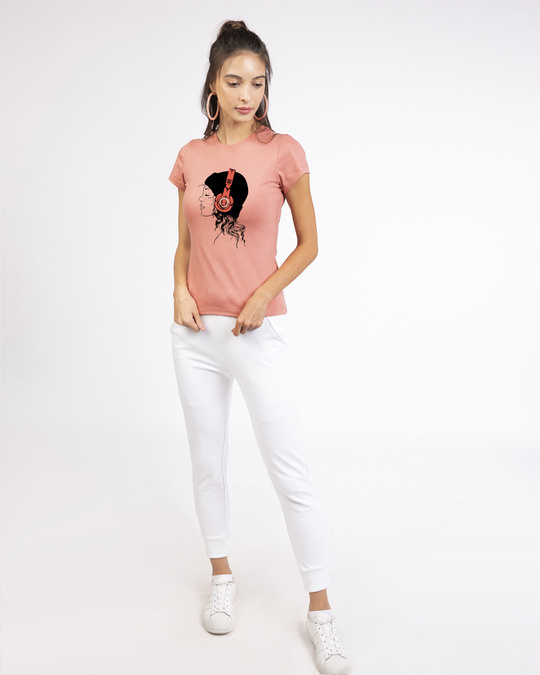 Shop Headphone Girl Half Sleeve T-Shirt-Design