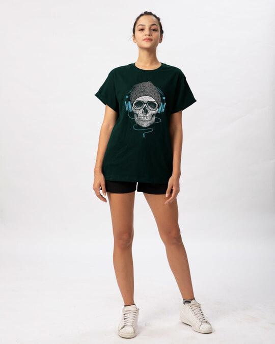 Shop Headphone Highlight Skull Boyfriend T-Shirt-Full