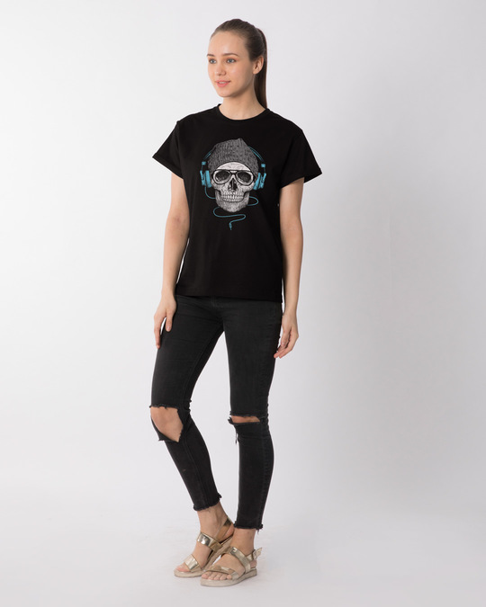 Shop Headphone Highlight Skull Boyfriend T-Shirt