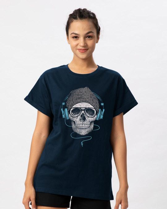 Shop Headphone Highlight Skull Boyfriend T-Shirt-Front