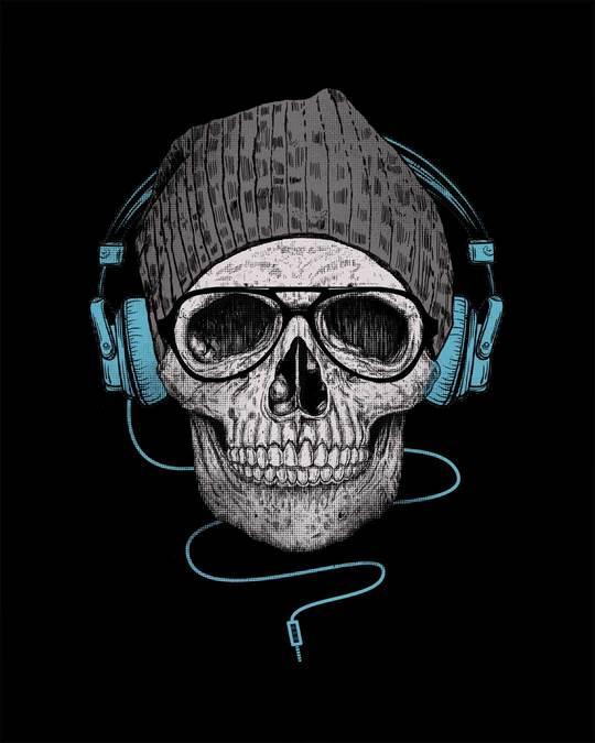 Shop Headphone Highlight Skull Full Sleeve T-Shirt