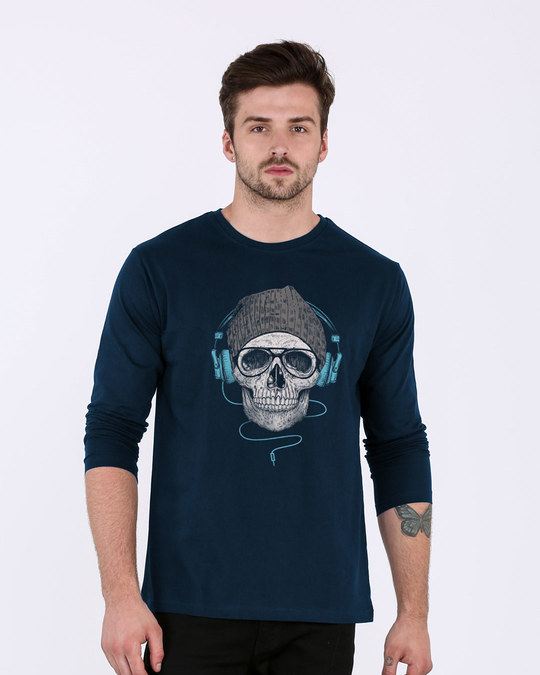 Shop Headphone Highlight Skull Full Sleeve T-Shirt-Front