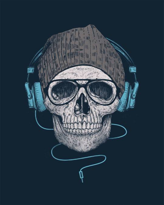 Shop Headphone Highlight Skull Full Sleeve T-Shirt