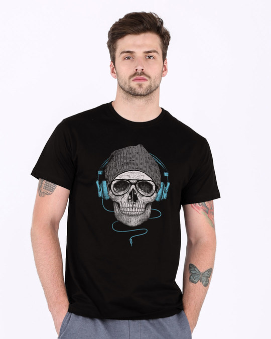 Shop Headphone Highlight Skull Half Sleeve T-Shirt-Back