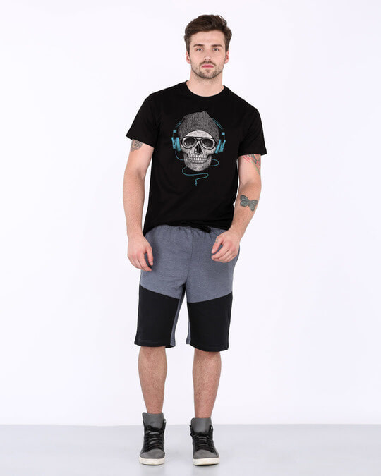 Shop Headphone Highlight Skull Half Sleeve T-Shirt-Full