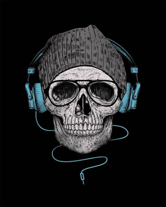 Shop Headphone Highlight Skull Half Sleeve T-Shirt