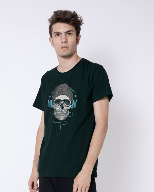 Shop Headphone Highlight Skull Half Sleeve T-Shirt-Design