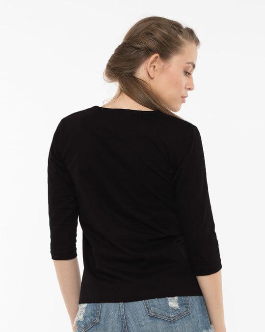 Shop Headphone Highlight Skull Round Neck 3/4th Sleeve T-Shirt-Full