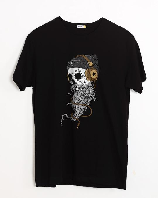 Shop Headphone Jack Skull Half Sleeve T-Shirt-Front