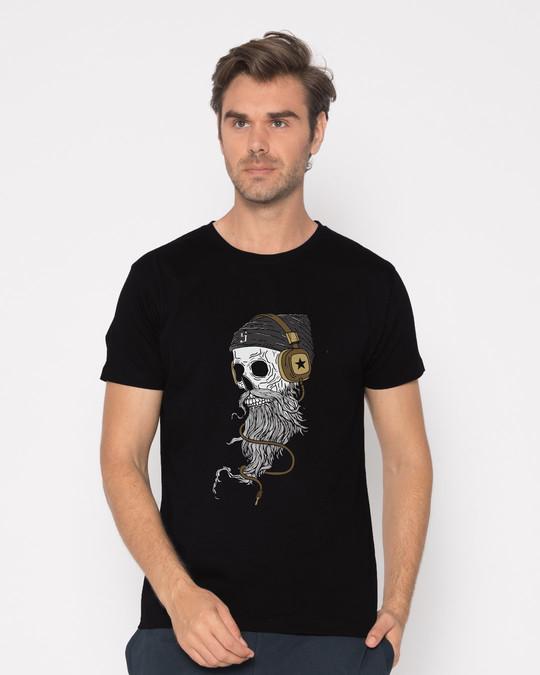Shop Headphone Jack Skull Half Sleeve T-Shirt-Back