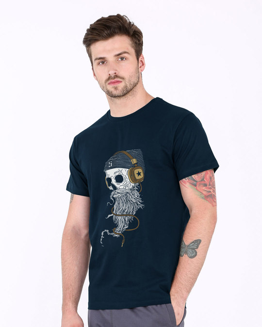 Shop Headphone Jack Skull Half Sleeve T-Shirt-Design