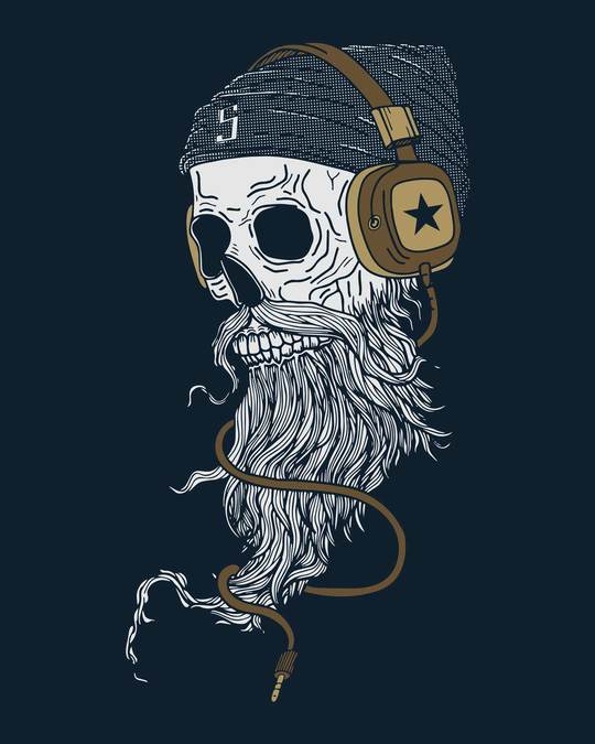 Shop Headphone Jack Skull Half Sleeve T-Shirt