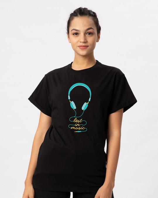 Shop Headphone Music Boyfriend T-Shirt-Front