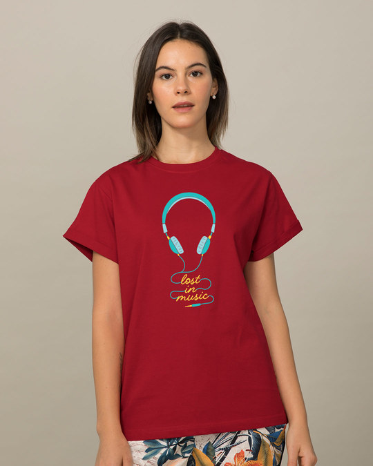 Shop Headphone Music Boyfriend T-Shirt-Front