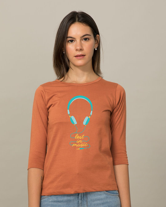 Shop Headphone Music Round Neck 3/4th Sleeve T-Shirt-Front