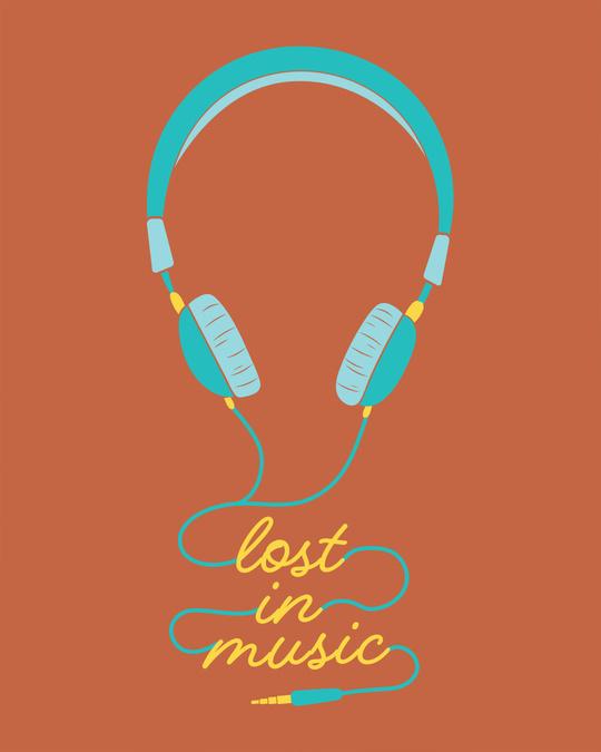 Shop Headphone Music Round Neck 3/4th Sleeve T-Shirt